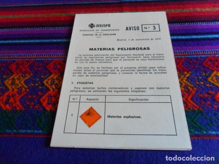 TRÍPTICO RENFE DIRECCIÓN DE TRANSPORTES. AVISO Nº 3 MATERIAS PELIGROSAS. AÑO 1979. MBE. (Coleccionismo - Carteles Gran Formato - Carteles Transportes)