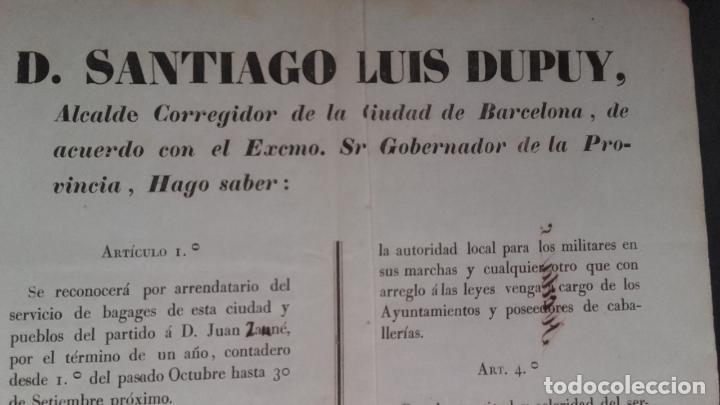 Carteles de Transportes: BANDO ARRENDAMIENTOS DE CABALLERIAS EN BARCELONA PUEBLOS PARTIDO BADALONA,S.ANDRES DE PALOMAR Y SANS - Foto 2 - 113154455