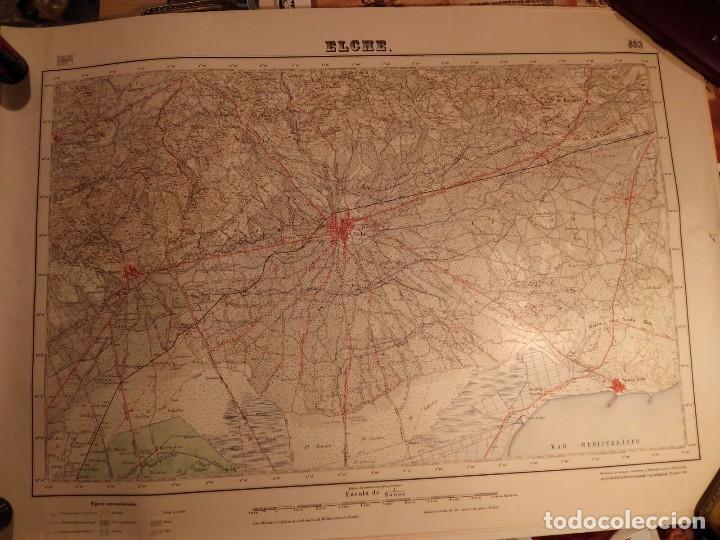 ELCHE MAPA PROVINCIAL AÑOS 40/50 - PERFECTO ESTADO 52X66 (Coleccionismo - Carteles Gran Formato - Carteles Transportes)