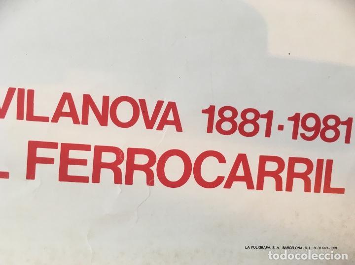 Carteles de Transportes: CENTENARI DE L'ARRIBADA DEL FERROCARRIL 1981. J. BROSSA. PILAR VILLUENDAS. - Foto 3 - 128569195