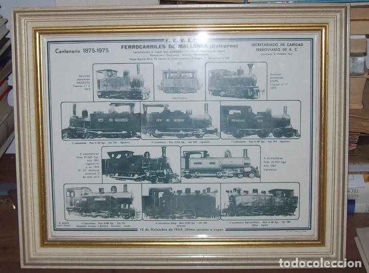 IMPRESIONANTE CARTEL DE FERROCARRILES DE MALLORCA. CENTENARIO 1875-1975. ENMARCADO. + PROGRAMA (Coleccionismo - Carteles Gran Formato - Carteles Transportes)