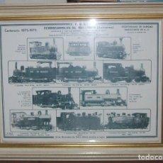 Carteles de Transportes: IMPRESIONANTE CARTEL DE FERROCARRILES DE MALLORCA. CENTENARIO 1875-1975. ENMARCADO. + PROGRAMA. Lote 130287282