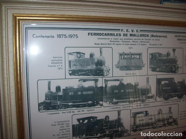 Carteles de Transportes: IMPRESIONANTE CARTEL DE FERROCARRILES DE MALLORCA. CENTENARIO 1875-1975. ENMARCADO. + PROGRAMA - Foto 2 - 130287282
