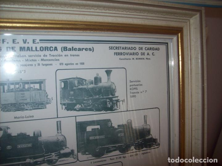 Carteles de Transportes: IMPRESIONANTE CARTEL DE FERROCARRILES DE MALLORCA. CENTENARIO 1875-1975. ENMARCADO. + PROGRAMA - Foto 3 - 130287282