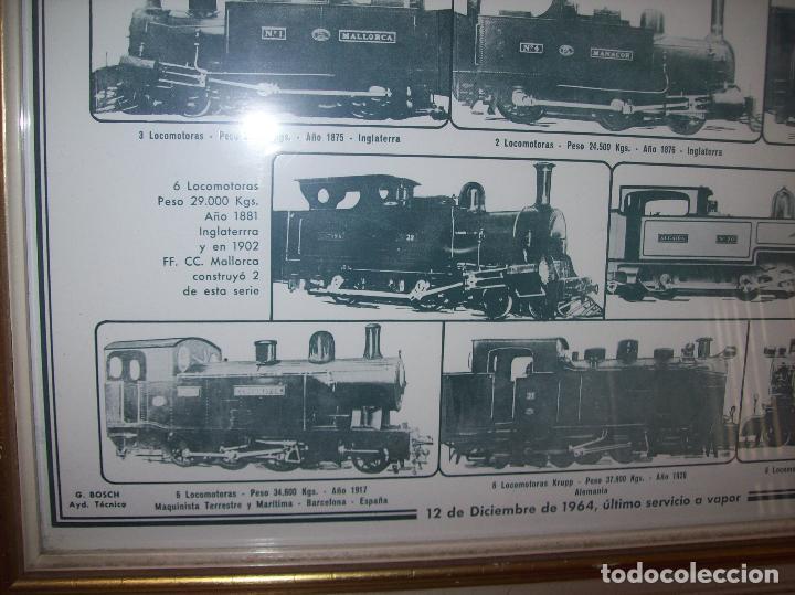 Carteles de Transportes: IMPRESIONANTE CARTEL DE FERROCARRILES DE MALLORCA. CENTENARIO 1875-1975. ENMARCADO. + PROGRAMA - Foto 4 - 130287282