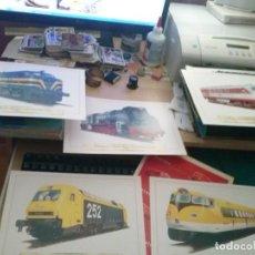 Carteles de Transportes: LOTE 5 LAMINAS DE LOCOMOTORAS DE TREN EN CARPETA. Lote 132075454