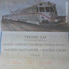 Carteles de Transportes: CARTEL RENFE GRAN FORMATO ORIGINAL- TRENES TAF SANTANDER-MADRID-GIJON. Lote 132213898
