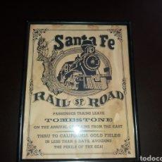 Carteles de Transportes: CARTEL ANTIGUO SANTA FE ,RAIL ROAD.. Lote 133444893
