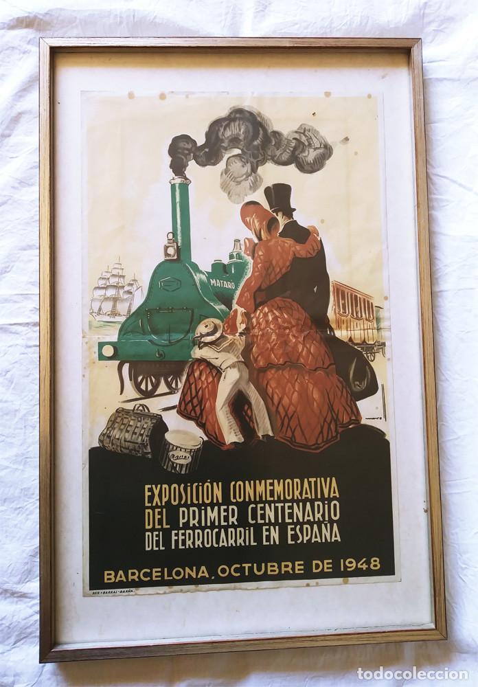 MATARÓ CARTEL EXPOSICIÓN CENTENARIO DEL FERROCARRIL EN ESPAÑA DE JOSEP MORELL. MED. 37 X 58 CM (Coleccionismo - Carteles Gran Formato - Carteles Transportes)