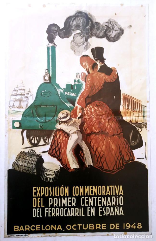 Carteles de Transportes: Mataró Cartel Exposición Centenario del Ferrocarril en España de Josep Morell. Med. 37 x 58 cm - Foto 2 - 139283514