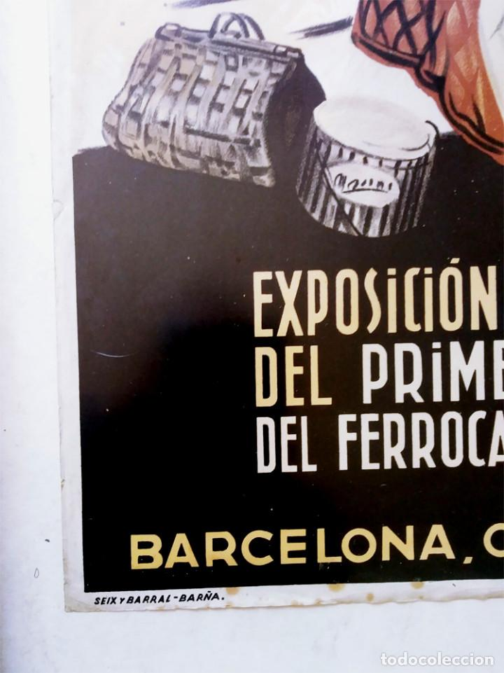 Carteles de Transportes: Mataró Cartel Exposición Centenario del Ferrocarril en España de Josep Morell. Med. 37 x 58 cm - Foto 3 - 139283514