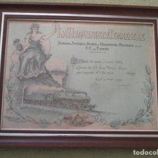 Carteles de Transportes: LA MAQUINISTA TERRESTRE, TÍTULO DE SOCIO DE 1920, ILUSTRADO, TREN, FERROCARRIL, ARTES GRÁFICAS GIJÓN. Lote 161974302