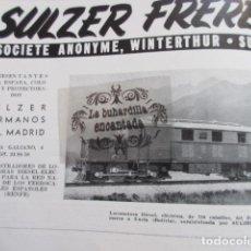 Affissi di Trasporti: PUBLICIDAD 1951 - COLECCION FERROCARRIL - SULZER FRERES SUIZA- RENFE TRANVIA . Lote 162909238