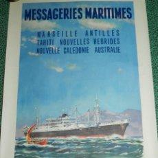 Carteles de Transportes: (M) CARTEL NAVIERAS AÑOS 40 - MESSAGERIES MARITIMES, MARSEILLE ANTILLES TAHITI AUSTRALIE, EDT PARIS . Lote 169904628