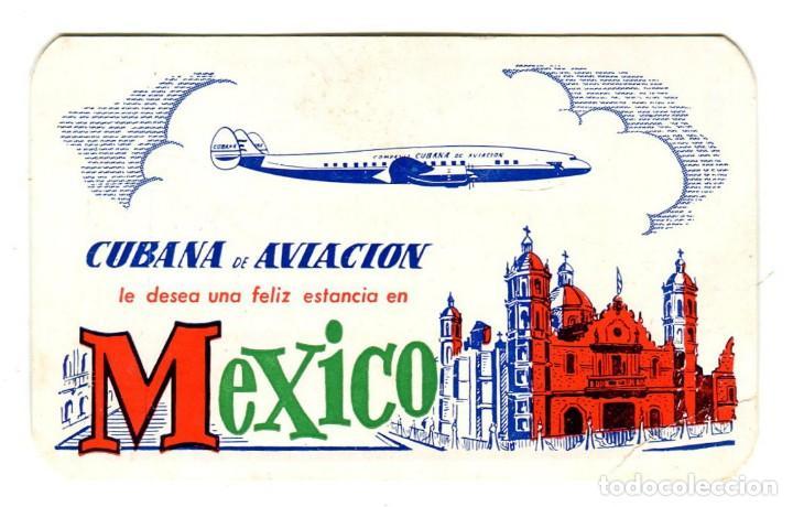 CUBANA DE AVIACION FELIZ ESTANCIA EN MEXICO TABLA DE CAMBIO ETIQUETA CARTON 9,5X6 CMS APROX AÑOS 50 (Coleccionismo - Carteles Gran Formato - Carteles Transportes)
