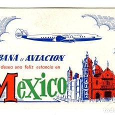 Carteles de Transportes: CUBANA DE AVIACION FELIZ ESTANCIA EN MEXICO TABLA DE CAMBIO ETIQUETA CARTON 9,5X6 CMS APROX AÑOS 50. Lote 170908365