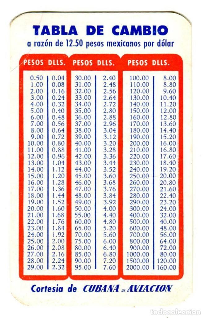 Carteles de Transportes: CUBANA DE AVIACION FELIZ ESTANCIA EN MEXICO TABLA DE CAMBIO ETIQUETA CARTON 9,5X6 CMS APROX AÑOS 50 - Foto 2 - 170908365