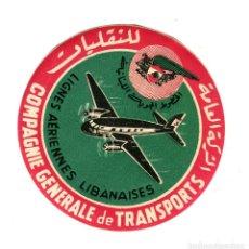 Carteles de Transportes: AEREOLINEAS LIBANESAS COMPAÑIA GENERAL DE TRANSPORTES ETIQUETA DIAMETRO 10 CMS APROX AÑOS 50. Lote 170909735