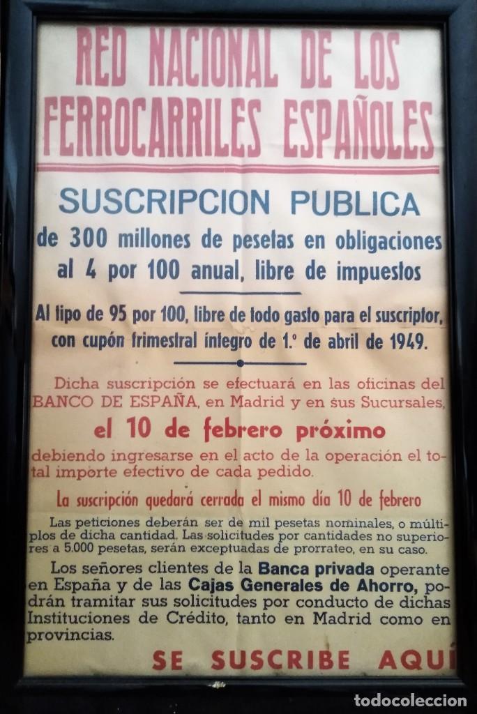 RED NACIONAL DE LOS FERROCARILES ESPAÑOLES SUSCRIPCION PUBLICA CARTEL (Coleccionismo - Carteles Gran Formato - Carteles Transportes)