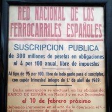 Carteles de Transportes: RED NACIONAL DE LOS FERROCARILES ESPAÑOLES SUSCRIPCION PUBLICA CARTEL. Lote 172002155