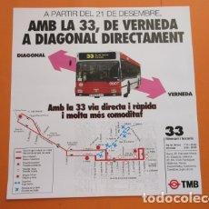 Carteles de Transportes: HISTORICO CARTEL INAUGURACION LINEA 33 VERNEDA DIAGONAL AUTOBUSES DE BARCELONA. Lote 174219502