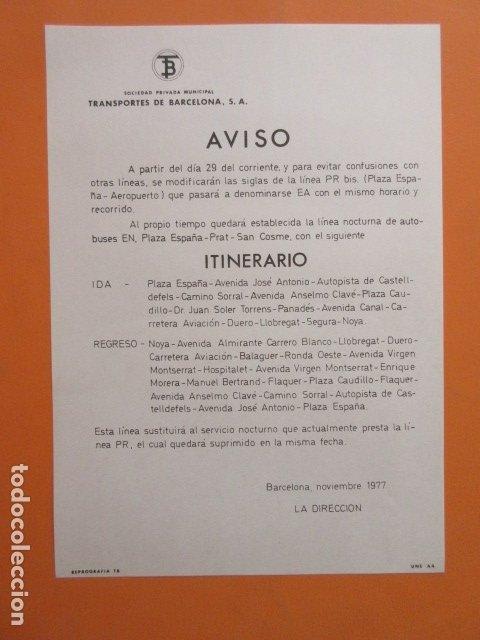 HISTORICO AVISO AÑO 1977 CAMBIO SIGLAS PR BIS PLAZA ESPAÑA AEROPUERTO POR EA LINEA NOCTURA EN (Coleccionismo - Carteles Gran Formato - Carteles Transportes)