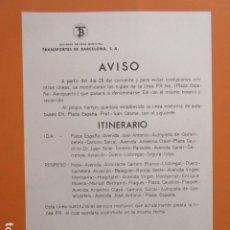 Carteles de Transportes: HISTORICO AVISO AÑO 1977 CAMBIO SIGLAS PR BIS PLAZA ESPAÑA AEROPUERTO POR EA LINEA NOCTURA EN . Lote 174219834