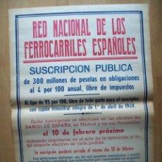Carteles de Transportes: CARTEL RED NACIONAL DE FERROCARRILES ESPAÑOLES. SUSCRIPCION PUBLICA 1949 . RENFE. Lote 177814414
