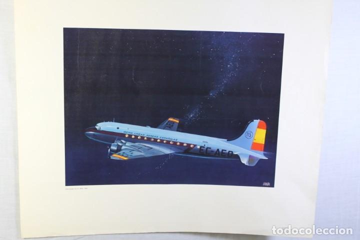POSTER PUBLICITARIO IBERIA AVIÓN DOUGLAS DC-4 1944 (Coleccionismo - Carteles Gran Formato - Carteles Transportes)