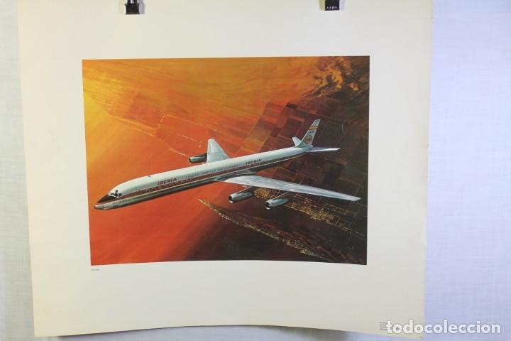 POSTER PUBLICITARIO IBERIA AVIÓN DOUGLAS DC-8 63 1958 (Coleccionismo - Carteles Gran Formato - Carteles Transportes)