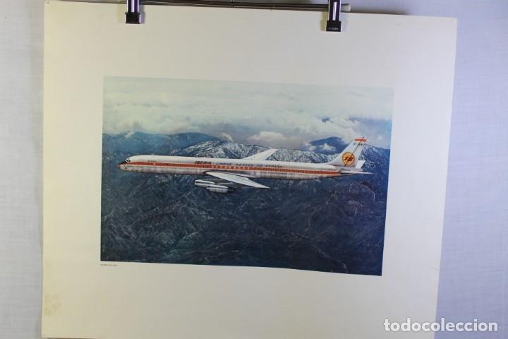 POSTER PUBLICITARIO IBERIA AVIÓN DOUGLAS DC-8 63 1960 (Coleccionismo - Carteles Gran Formato - Carteles Transportes)