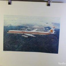 Carteles de Transportes: POSTER PUBLICITARIO IBERIA AVIÓN DOUGLAS DC-8 63 1960. Lote 178610496
