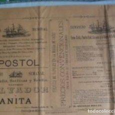 Affiches de Transports: CARTEL PAPEL DE LOS HORARIOS DE BARCOS PUERTO DE SANTA MARÍA.. Lote 179079443