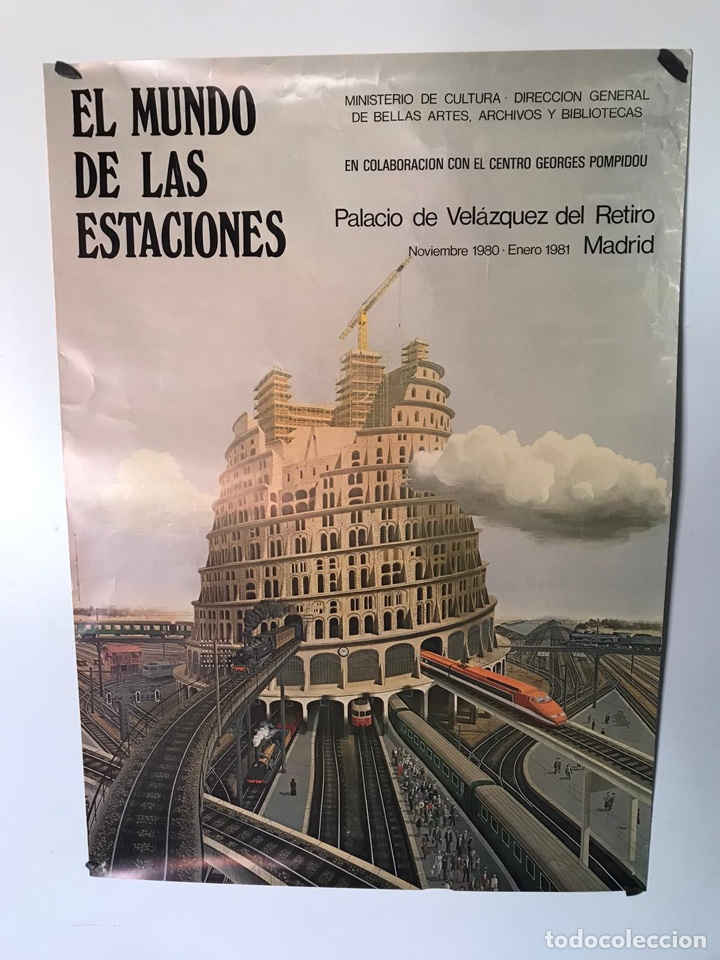 ANTIGUO PÓSTER EL MUNDO DE LAS ESTACIONES (Coleccionismo - Carteles Gran Formato - Carteles Transportes)