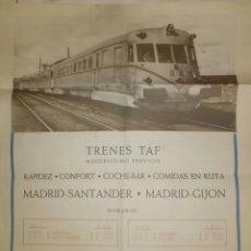 Carteles de Transportes: CARTEL TRENES - TAF RENFE - CON HORARIOS. EL ENVIO ESTA INCLUIDO.. Lote 180115296