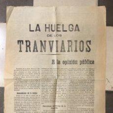 Carteles de Transportes: LA HUELGA DE LOS TRANVIARIOS DE PALMA MALLORCA EN 1919. Lote 183008711