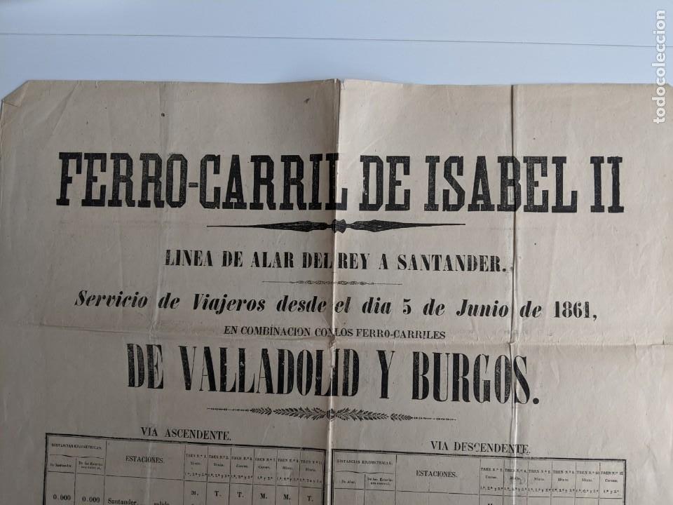 1861 GRAN CARTEL ORIGINAL FERROCARRIL DE ISABEL II - LINEA DE ALAR DEL REY A SANTANDER (Coleccionismo - Carteles Gran Formato - Carteles Transportes)