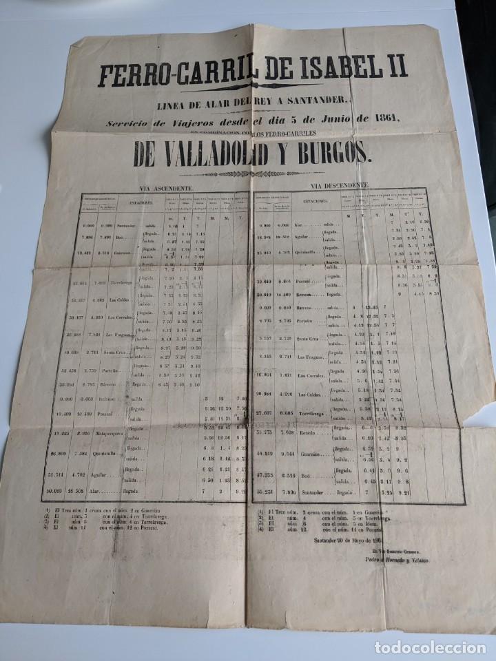 Carteles de Transportes: 1861 GRAN CARTEL ORIGINAL FERROCARRIL DE ISABEL II - LINEA DE ALAR DEL REY A SANTANDER - Foto 2 - 194134562