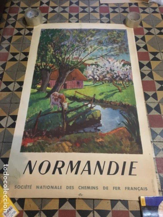 (M) FERROCARRILES/FRANCIA - CÀRTEL 1947 NORMANDIE SOCIETE NATIONALE DES CHEMINS DE FER FRANCAIS ILUT (Coleccionismo - Carteles Gran Formato - Carteles Transportes)