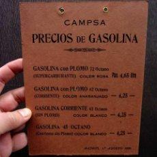 Carteles de Transportes: CARTEL EN CARTÓN RÍGIDO DURO. CAMPSA. PRECIOS DE GASOLINA. AÑO: 1950. MUY BUEN ESTADO.. Lote 200742022