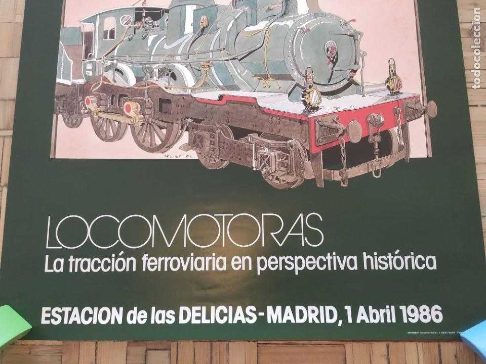 Carteles de Transportes: 1986. Locomotoras. Tracción ferroviaria perspectiva histórica. Museo Nacional ferroviario. Delicias - Foto 2 - 204338791