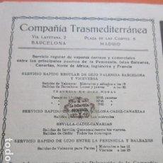 Carteles de Transportes: RECORTE PUBLICIDAD 1930 - COMPAÑIA TRASMEDITERRANEA VALENCIA BARCELONA CANARIAS - 13 X 12 CM.. Lote 204519598