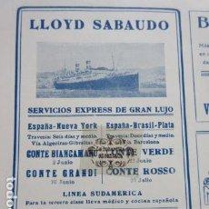Carteles de Transportes: RECORTE PUBLICIDAD 1930 - LLOYD SABAUDO ESPAÑA NUEVA YORK BRASIL - 10 X 13 CM.. Lote 204519805