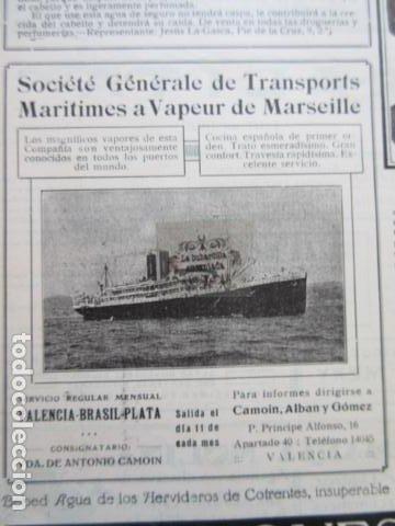 RECORTE PUBLICIDAD 1929 - SOCIETE GENERALE TRASNPORTS ARITIMES A VAPEUR MARSEILLE - 12 X 12 CM (Coleccionismo - Carteles Gran Formato - Carteles Transportes)