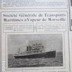 Carteles de Transportes: RECORTE PUBLICIDAD 1929 - SOCIETE GENERALE TRASNPORTS ARITIMES A VAPEUR MARSEILLE - 12 X 12 CM. Lote 204522666