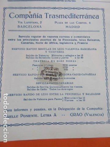 RECORTE PUBLICIDAD 1929 - COMPAÑIA TRASMEDITERRANEA GRAO VALENCIA - 12 X 13 CM (Coleccionismo - Carteles Gran Formato - Carteles Transportes)