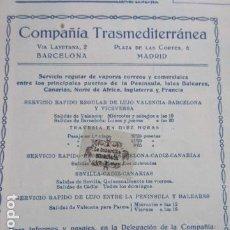 Carteles de Transportes: RECORTE PUBLICIDAD 1929 - COMPAÑIA TRASMEDITERRANEA GRAO VALENCIA - 12 X 13 CM. Lote 204522871