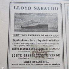 Carteles de Transportes: RECORTE PUBLICIDAD 1929 - LLOYD SABAUDO - 9 X 13 CM. Lote 204523018