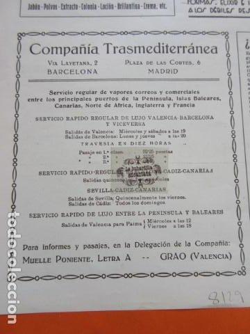 RECORTE PUBLICIDAD 1929 - COMPAÑIA TRASMEDITERRANEA - 12 X 13 CM (Coleccionismo - Carteles Gran Formato - Carteles Transportes)