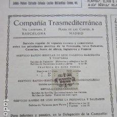 Carteles de Transportes: RECORTE PUBLICIDAD 1929 - COMPAÑIA TRASMEDITERRANEA - 12 X 13 CM. Lote 204523747